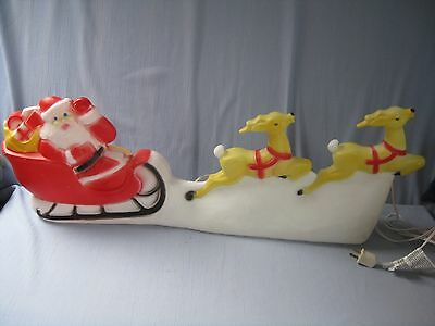 Vintage Christmas Union Lighted Blow Mold Santa Sleigh & Reindeer Decoration