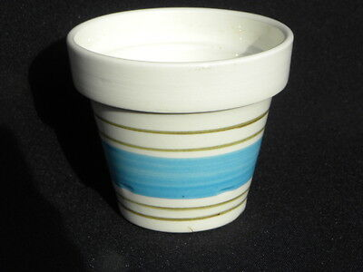 "Vintage Stangl Flower Pot/Planter w/Blue and Green Stripes and Lines 3 1/8"" H"
