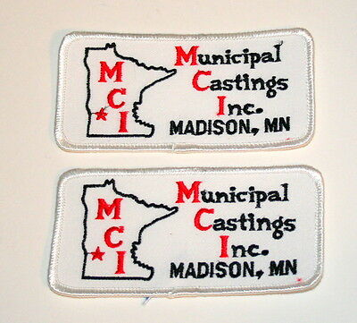 2 Vintage Municipal Castings Inc Madison Minnesota Patch New NOS 1970s