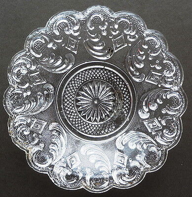 "EAPG- BOSTON & SANDWICH GLASS CO. shallow 5"" PLUME & DIAMOND LACEY FLINT SAUCE"
