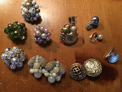 Lot Costume Jewelry Vtg Earrings Several Missing One Of The Set / Repair