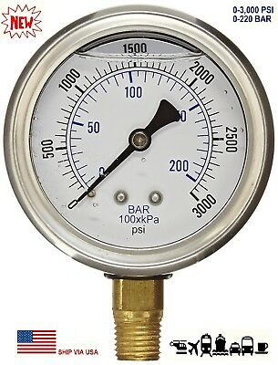 "New 2-1/2"" Hydraulic Liquid Filled Pressure Test Gauge 0 - 3000 PSI Lower Mount"