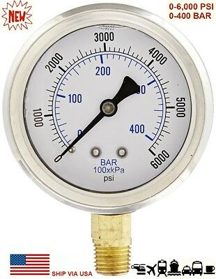 "New 2-1/2"" Hydraulic 0 - 6000 PSI Liquid Filled Pressure Test Gauge Lower Mount"
