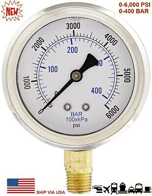 "New 2-1/2"" Hydraulic Liquid Filled Pressure Test Gauge 0 - 6000 PSI Lower Mount"