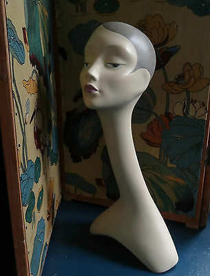 vintage swan neck mannequin bust head shop millinery display hand painted