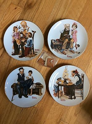 Norman Rockwell Plates Set of 4 Toymaker Cobbler Collectible LIMITED EDITION