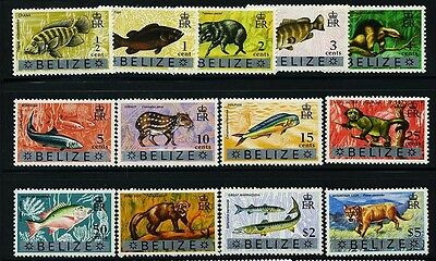 BELIZE Sc312~24 (13) CplSet, 1973 E2R Def. Ovprt  Fish, Animals MNH