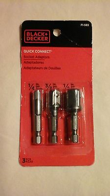 "Black & Decker 1/4"" To 1/2"" Quick Connect Socket Adaptors 3 Piece Set"