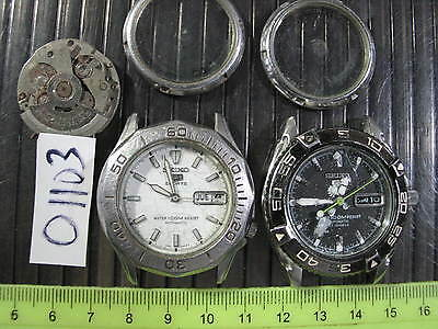 2pc SEIKO 5 Diver Sports 100M 7S26 7S36 Automatic Gents Parts Watch AsIs