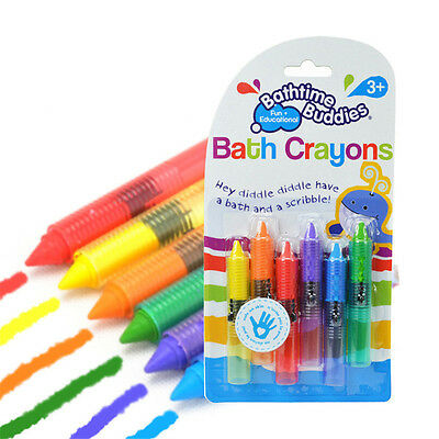 6x Baby Kids Children Bathtime Erasable Safety Level Bath Crayon Crayons MDAU
