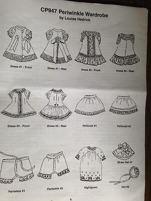 """WARDROBE PATTERN  for ALL BISQUE MIGNONETTE 5.5"""" 10 pieces Louise Hedrick"""