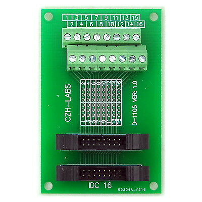 IDC-16 2x8pins 2.0mm Dual Male Header Breakout Board, Screw Terminal Connector.
