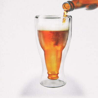 Beer Bottle Shaped Double Wall Glass Mugs Coffee Cup For Kitchen Bar Home