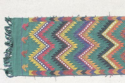 Guatemalan Handwoven Colorful Chevron Tapestry Huipil Textile Table Runner 56x16