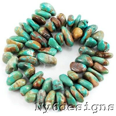 """*Natural China Hubei Turquoise Nugget 15-20mm Beads 15""""(TU584)d for DIY Jewelry"""