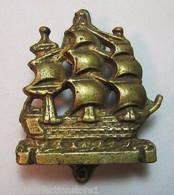 Old Ship Small Interior Door Knocker nicely detailed bronze brass nautical sail