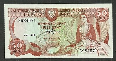 Cyprus $0.50.cents P.52 (Xf) From 1989.