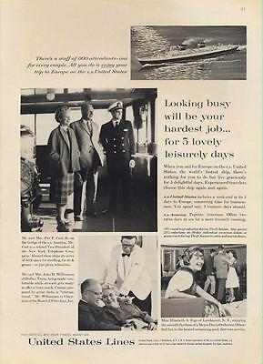 1962 United States Lines Cruise Ship Captain On Deck PRINT AD