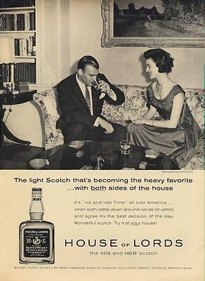 1962 House of Lords Scotch Whisky Vintage Bottle PRINT AD