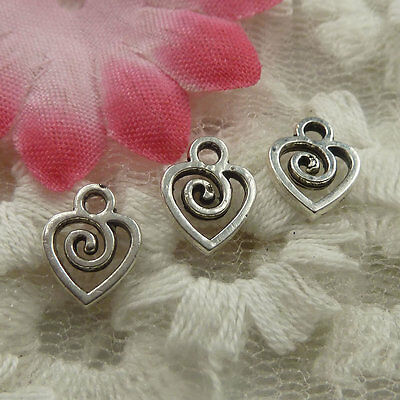 free ship 300 pieces Antique silver heart charms 10x8x1mm #4440