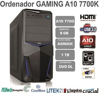 Ordenador Pc Gaming Amd Quad Core A10 7700K 8Gb Ram 1Tb