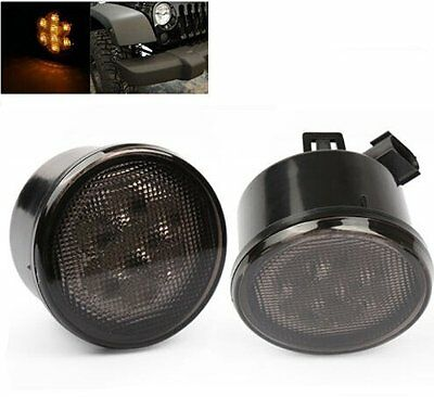 Pair Front Smoked Lens Amber LED Turn Signal Light For Jeep Wrangler JK 07-17