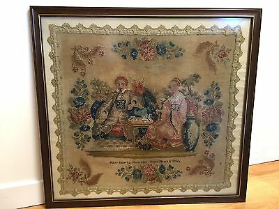 Very interesting large 19th Century antique sampler by Mary Roberts
