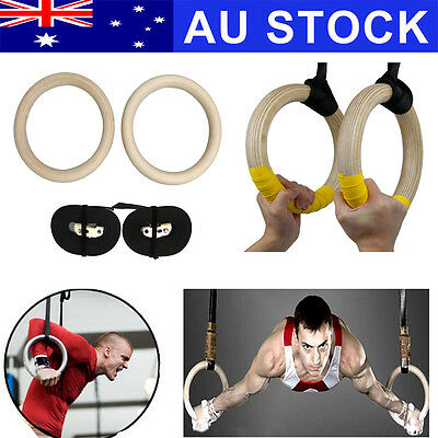 Wooden Olympic Gymnastic Rings Gym Pro Exercise Straps Strength Training Fitness