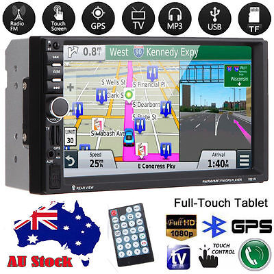 "7"" HD Double 2 Din Car MP3 MP5 Radio Player GPS Bluetooth Touch Screen + Camera"