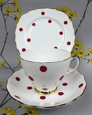 Vintage Royal Vale porcelain Red Polka Dot TEA TRIO. Cup saucer and cake plate.