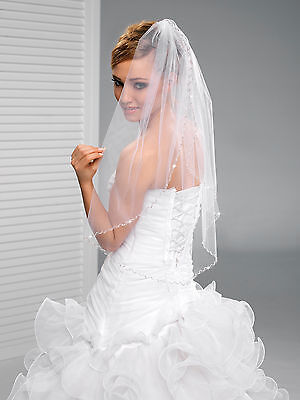 Bridal Ivory or White Wedding Fingertip Length Veil on Comb with Cut Edge W-42