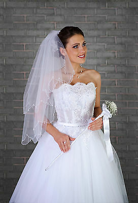 "NEW 2T White/Ivory Wedding Prom Bridal Elbow Veil With Comb 32""-Beads & Crystals"