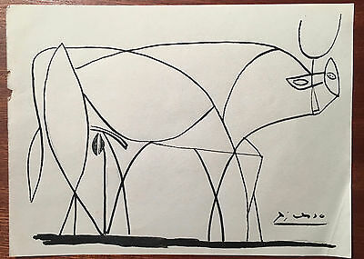 Picasso Original Pen Ink Hand Signed Drawing Bull Standing