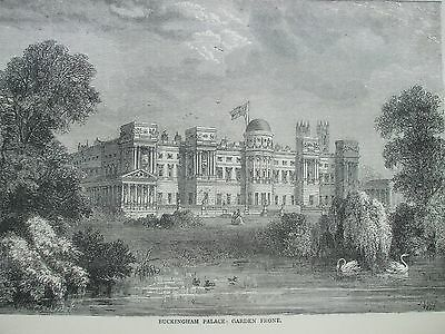 Antique Print C1875 Buckingham Palace Garden Front Engraving London Old & New