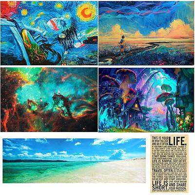 Psychedelic Art Fabric Silk Cloth Poster Wall Home Decor 24x36 inch / 24x77 inch