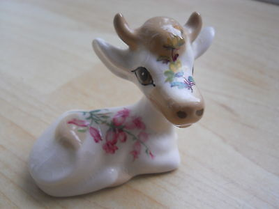 Novelty Szeiler England Pottery Cow with Floral decoration on Her Side