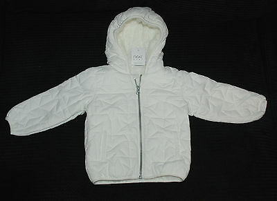 Next Baby Lined White / Cream Girls Coat with Hood Age 12-18 Months BNWT