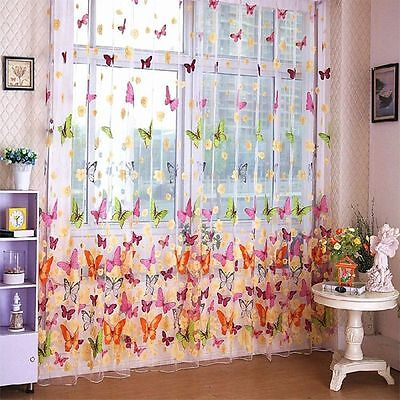 Door Window Transparent Curtain Panel Butterfly Print Sheer Curtain 200cm X100cm