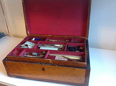 Antique Wooden Veneered Sewing / Jewellery Box With Tray & Contents