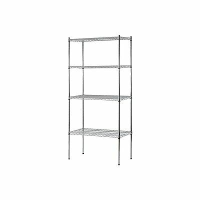 "Heavy Duty NSF Certified 4-Level Wire Shelving - Chrome (74""H x 36""W x 18""D) NEW"