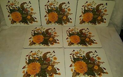 Cloverleaf Melamine 1970's Autumn Print Table Mats  X 7.