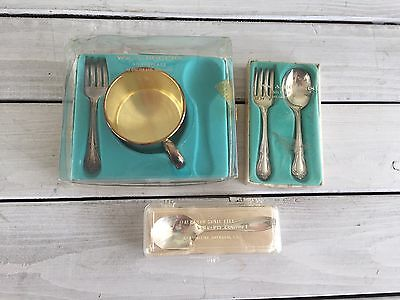 Baby Cup Forks Spoons Silver Plated WM Rogers Oneida Gift Box Sets Vintage Gift