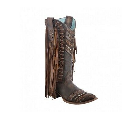 5bf2e4476c5 CORRAL LADIES SNIP Toe Brown/Tan Woven Details & Fringe Side Western Boots  C2986