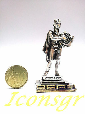 Ancient Greek Olympian God Miniature Sculpture Statue Zamac Apollo Silver