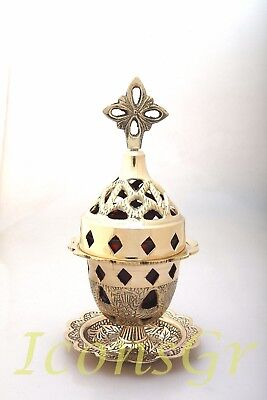 Orthodox Oil Lamp Greek Byzantine Brass Church Votive Vigil Table  Cross 9353B