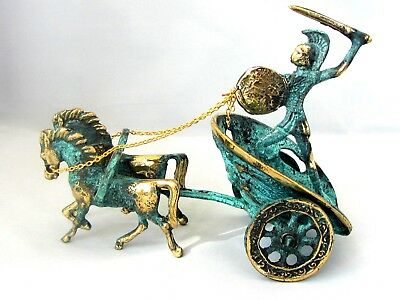 Ancient Greek Bronze Achilles Chariot Green Gold Oxidization 119