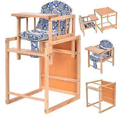 High Chair Baby Feeding Infant Toddler Table 2in1 Solid Wooden Table Chair New