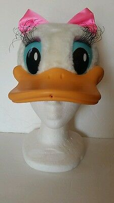 Vintage Walt Disney World Daisy Duck Hat Snap Back Mesh Bill Made In USA Child