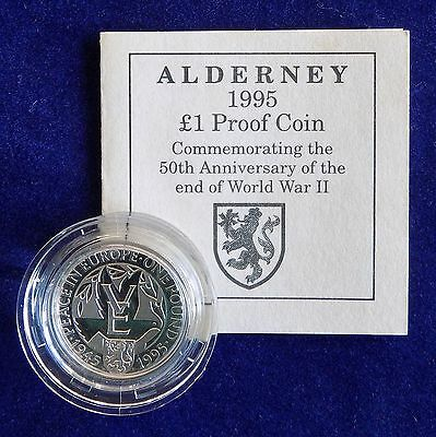Alderney, 1995 Silver Proof £1, Pound Coin, VE Day 50th Anniversary (Ref. t0381)