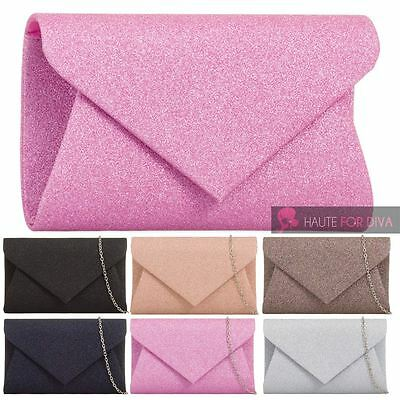 Ladies New Glitter Shimmer 3D Envelope Chain Strap Evening Party Clutch Bag
